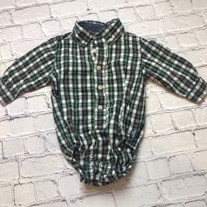 OshKosh B'gosh Christmas plaid onesie 12 months